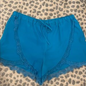 Turquoise and lace draw string shorts